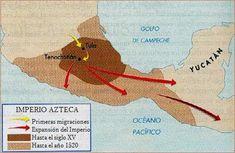 Mapa de la expansión del imperio azteca.
