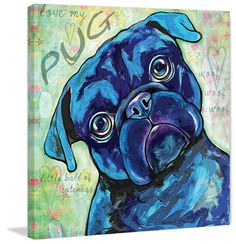 Marmont Hill - Black Pug by Stephanie Gerace Painting Print on Wrapped Canvas, Size: 18 inch x 18 inch, Multicolor Canvas Art Prints, Painting Prints, Dog Paintings, Happy Paintings, Black Pug Puppies, Pug Dogs, Dog Art, Wrapped Canvas, Wall Art