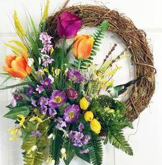 Grapevine Wreath with Bird Nest, Summer Grapevine Wreath, Gifts, Holidays, Wall Hanging, Door Wreath,