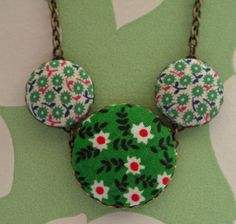 Vintage Fabric Three Button Necklace in Green and Pink £10.00