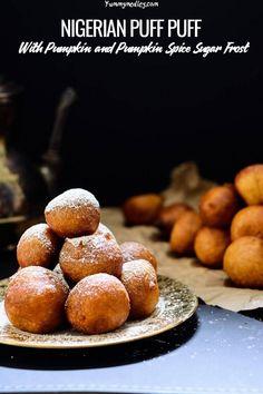 Pumpkin Drop Donuts (Nigerian Pumpkin Puff Puff) - puff puffs with some pumpkin spice sugar sprinkled on top Egg Free Recipes, Snack Recipes, Dessert Recipes, Cooking Recipes, Homemade Pumpkin Puree, Pumpkin Recipes, Moussaka, Cinnamon Spice, Pumpkin Spice