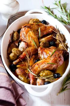 Lapin au muscat et aux olives - Rabbit Recipe Oven, Belgian Food, Classic French Dishes, Dutch Recipes, French Recipes, Food Tags, Rabbit Food, Eat To Live, Mets