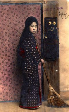 taishou-kun:  Young girl and phone - Japan - Hand-colored postcard - Stamped 1906