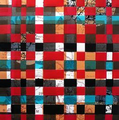 Printed and woven with shopping bag fabric - Kym Burke Cartography, Map Art, Woven Fabric, New Zealand, Vibrant Colors, Mixed Media, Weaving, Palette, Quilts