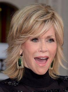 Jane Fonda Fluffy Medium Wavy Human Hair Capless Wigs 12 Inches Jane Fonda Hairstyles, Easy Hairstyles, Hairstyles 2016, Hairstyle Ideas, Style Hairstyle, Beautiful Hairstyles, Celebrity Hairstyles, Medium Hair Styles, Curly Hair Styles
