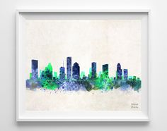 Houston Skyline Watercolor Poster Texas Print by InkistPrints