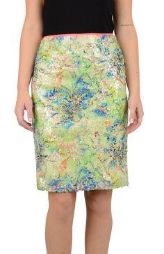 Elie Tahari Womens Lime Blue Multi Vera Floral Sequin Pencil Skirt 10 $398 New #ElieTahari #StraightPencil