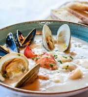I'm Turning 60...: Anna Sultana's East Coast Seafood Chowder & Bacon Cauliflower Chowder / Full Worm Moon Diced Potatoes, Russet Potatoes, Manhattan Clam Chowder, Campbell's Soup Cans, Crusty Rolls, Cauliflower Chowder, Turning 60, Worms, East Coast