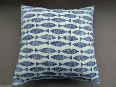 "Scion by Harlequin Samaki Ink Navy Blue Fish Nautical Print  16"" Cushion Cover"