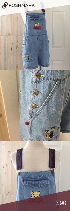 """Vintage 1990s Denim Winnie The Pooh Disney Overall XUC: Vintage 1990s Denim Jean Winnie the Pooh Bear Disney Overalls; the elastic stretchy suspender style straps are adjustable so length is from start of denim to bottom hem approx 35"""" long & side to side starting at top of shorts is approx 34""""; pockets are approx 11"""" long; pooh is stamped on the buttons & these feature honey pot & bumble bee details unlike most styles The Disney Catalog  Jeans Overalls"""