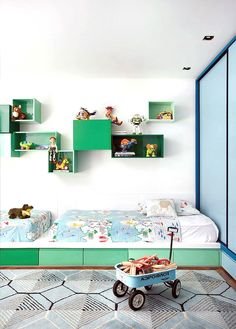 colorful modern shared kid's room...