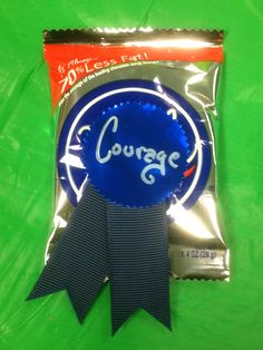 Wizard of Oz Teacher Appreciation Week. Cowardly Lion Courage Badge = York Peppermint Patty. 36ct full size 19.88 /Sams Club. I used the stickers/ribbons that came with the (Doctor of Thinkology) Certificate sheets. It is a set they sell at Office Depot. So basically a 2-in-1 !