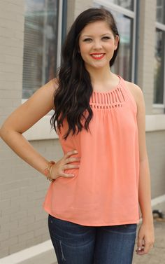 The Coal Cut Out Top - Simple but pretty! Coral is in this summer and this top is lovely! Dress and Dwell - Good things for you and your home