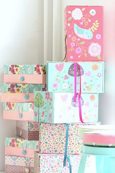cover shoe boxes, all boxes with paper and misc ribbon ~ re~design ~  organize