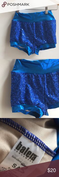 Blue sequin dance bloomers Brand is Balera size small adult; my daughter never wore these; her name is written in marker on the tag; these are great booty shorts - perfect for dance!!! They are $30 on amazon and not even available in this size/color combination! 50% of my sales goes to New Hope a girls school in the Dominican Republic Balera Shorts