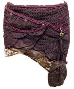 BROWN elf pocket psytrance PIXIE SKIRT ethnic goa Skirt, wrap Skirt, Elf Mini Skirt