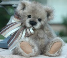 """http:www.kimbearlys.com 10"""" recycled mink fur teddy bear One Of A Kind """"SOLD"""""""