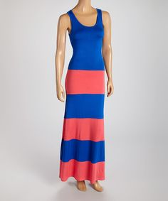 Take+a+look+at+the+American+Twist+Royal+Blue+&+Coral+Stripe+Maxi+Dress+on+#zulily+today!