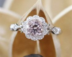 Vintage Morganite Ring,VS 6mm Round Cut Morganite Engagement Ring,Floral Halo Diamonds,Half Eternity,Milgrain Bezel,14K White Gold Ring