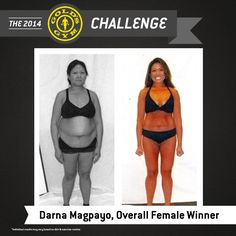 """""""It is hard to realize that I am the girl I see in the mirror! I have dozens of before pictures that symbolize every failed fad diet and every attempt at going to the gym. Thank you Gold's Gym for now I have the after picture I have waited for over 20 long years."""" – Darna Magpayo, First Place – Female 40-49 and Female Overall Winner; Lost 41 lbs, 22.75 inches and 9.9% body fat."""