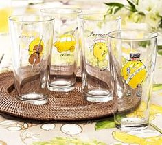 Cheeky Lemon Tumblers, Mixed Set of 4 #Pottery Barn
