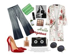 """""""Hello Gorgeous"""" by spencer-hastings-5 ❤ liked on Polyvore featuring River Island, Christian Louboutin, Cathy's Concepts, Bobbi Brown Cosmetics and Morphe"""