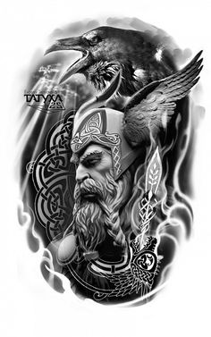 Viking Tattoo Sleeve, Viking Tattoo Symbol, Viking Tattoo Design, Full Sleeve Tattoos, Tattoo Sleeve Designs, Realistic Tattoo Sleeve, Tattoo Symbols, Tattoo Odin, Viking Warrior Tattoos