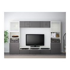 """IKEA - BESTÅ, TV storage combination/glass doors, white/Selsviken high-gloss/gray frosted glass, drawer runner, push-open, 118 1/8x15 3/4x75 5/8 """", , The drawers and doors have integrated push-openers, so you don't need handles or knobs and can open them with just a light push.This TV storage combination has plenty of extra storage and makes it easy to keep your living room organized.It's easy to keep the cords from your TV and other devices out of sight but close at hand, as there are…"""
