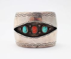 1960s Native American Bracelet / Turquoise Sterling Silver and Coral Shadowbox Cuff  Available via Etsy: http://etsy.me/29BTmLj