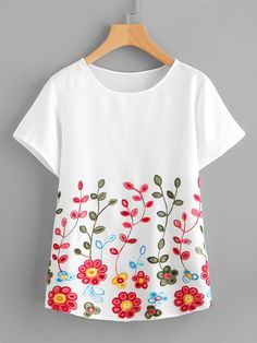 SheIn offers Flower Embroidery Short Sleeve Top & more to fit your fashionable needs. Embroidery On Kurtis, Kurti Embroidery Design, Hand Embroidery Videos, Embroidery On Clothes, Shirt Embroidery, Embroidered Clothes, Flower Embroidery, Fabric Paint Shirt, T Shirt Painting