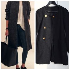 Charcoal coat Chic minimalist essential. You can wear this coat with dresses to complete a polished look, or pair it up with white t shirt and jeans for a casual day out. Three gold bottons on one side, one gold button on the other side. Last two pics are for styling reference. In EXCELLENT condition Jackets & Coats