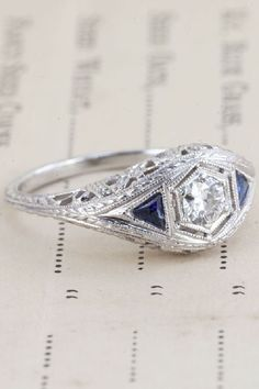 Erica Weiner 1920s Visionary Diamond and Sapphire Ring, $1900, available at Erica Weiner.