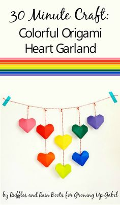 Need a colorful Valentine's Day decoration? Make this easy origami heart garland (and a bouquet) with this easy craft tutorial!