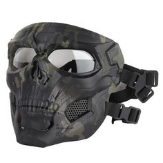 ATAIRSOFT Tactical Protective Adjustable Skull Full Face Mask for Airsoft Paintball Cosplay Costume Party Hockey(Black) Paintball Mask, Airsoft Mask, Airsoft Gear, Paintball Party, Skeleton Mask, Skull Mask, Armas Airsoft, Fast Helmet, Full Face Mask