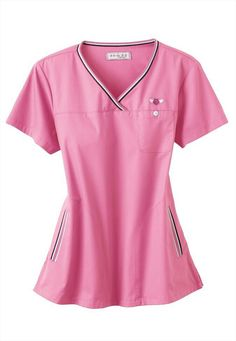 Pink scrub top.