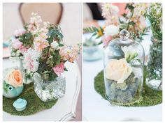 Centerpiece, wedding centerpiece, vintage centerpiece, terrarium centerpiece, moss, stock, queen anne's lace, cut glass - Rachel Solomon Photography Blog | Stefanie and Michael – Vintage Garden Wedding at Arizona Historical Society | http://blog.rachel-solomon.com
