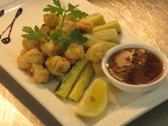 One of our Starters for Fish Friday. Golden fried scallops & courgettes served with home made sweet chilli dip