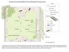 This design was created for a large degraded muddy pasture on the crest of a hill. The track gives the horses somewhere to live while the inner area pasture is established.   This design shows the pasture area divided into four area rotational grazing system.