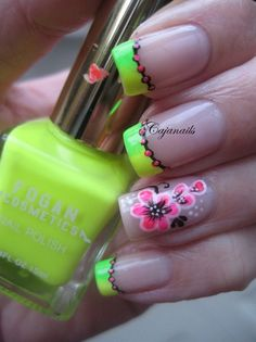 Neon french tips with neon flowers by Cajanails Nail Art Gallery nailartgaller Neon French Tips mit Neonblumen von Cajanails Nail Art Gallery nailartgaller Neon Nails, Diy Nails, French Nails, Great Nails, Cute Nails, Nagel Hacks, Painted Nail Art, Flower Nail Art, Nail Art Galleries