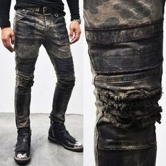 Bottoms :: Re)Hardcore Wax Coated Grunge Camo Biker-Jeans 108 - Mens Fashion Clothing For An Attractive Guy Look