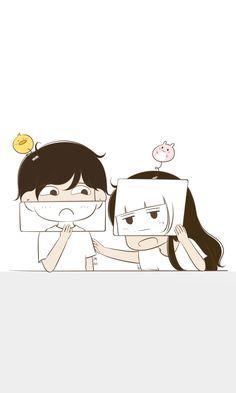 嘻嘻!皮一下很开心! Love Cartoon Couple, Chibi Couple, Anime Love Couple, Cute Anime Couples, Cute Couple Wallpaper, Love Wallpaper, Cute Love Cartoons, Cute Cartoon, Couple Illustration