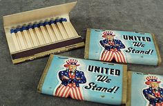 These old patriotic matches feature Uncle Sam