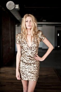 gold sequined dress.