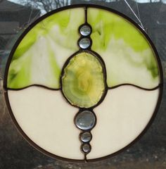 Round Abstract Stained Glass Panel with Green Agate by Nanantz