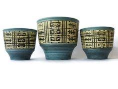Mid Century Modern ceramic planter set of 3 U by VintageBreda