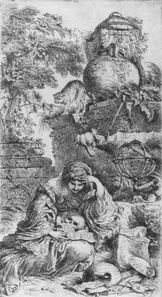 Detail from 'Melancholy,' an etching by G. B. Castiglione, ca. 1647.