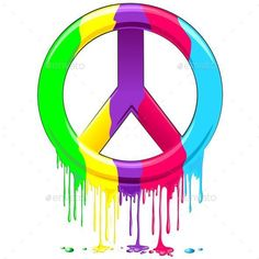 NEW #Vector on #Graphicriver ☮ #Peace #Sign #Dripping #Rainbow #Paint - by #Bluedarkart  http://graphicriver.net/item/peace-symbol-dripping-rainbow-paint/10606917