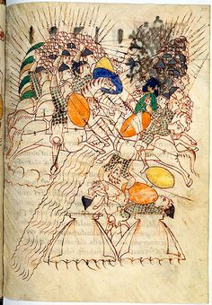 Cavalry battle at a river crossing. The Leiden I Maccabees manuscript ...