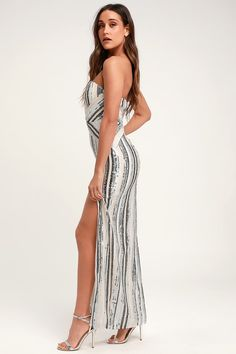 526048fa060 Lulus   Glenda Silver Multi-Striped Strapless Sequin Maxi Dress   Size  Large   100% Polyester