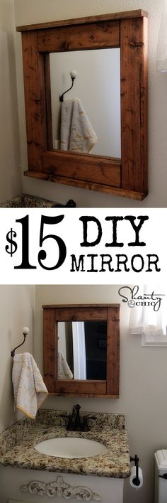 DIY Mirror at Shanty-2-Chic.com !  So cheap and easy!! LOVE this............I have a mirror with no frame at home and I've been trying to figure out what to do. This is perfect!!